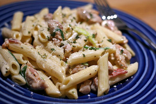Savory Chicken with Bacon Penne Pasta: Sorry lil piggies – you're ...